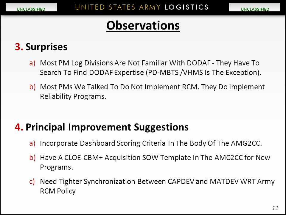 UNCLASSIFIED Observations 3.Surprises a)Most PM Log Divisions Are Not Familiar With DODAF - They Have To Search To Find DODAF Expertise (PD-MBTS /VHMS