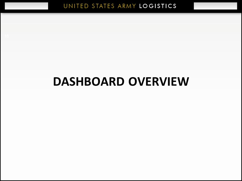 16 DASHBOARD OVERVIEW