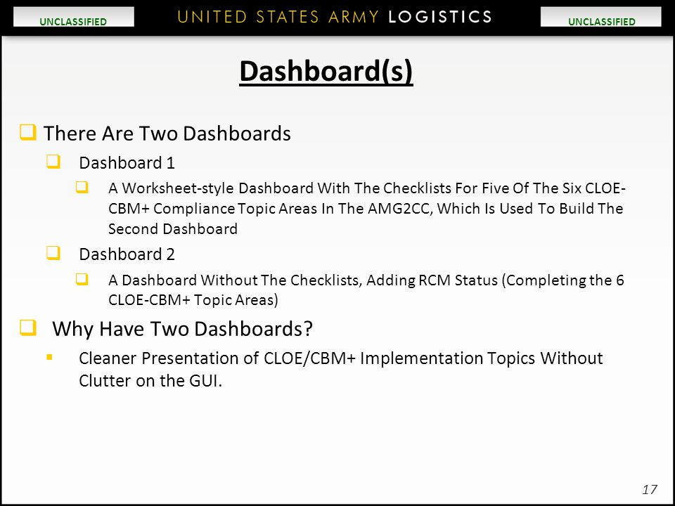 UNCLASSIFIED Dashboard(s)  There Are Two Dashboards  Dashboard 1  A Worksheet-style Dashboard With The Checklists For Five Of The Six CLOE- CBM+ Co