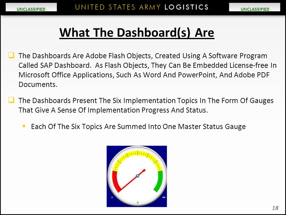 UNCLASSIFIED What The Dashboard(s) Are  The Dashboards Are Adobe Flash Objects, Created Using A Software Program Called SAP Dashboard. As Flash Objec