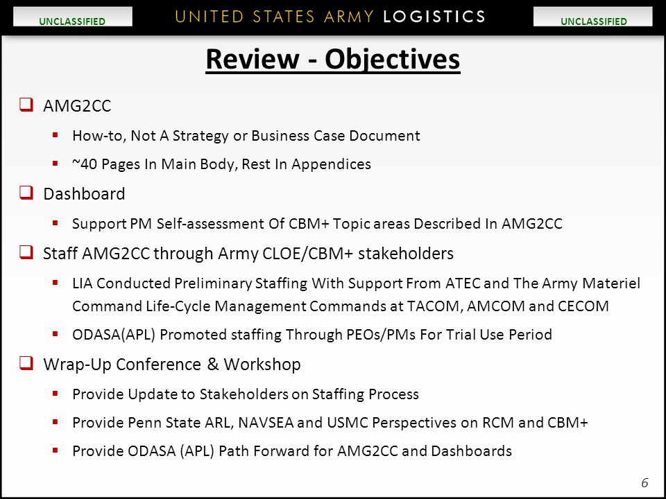 UNCLASSIFIED Review - Objectives  AMG2CC  How-to, Not A Strategy or Business Case Document  ~40 Pages In Main Body, Rest In Appendices  Dashboard