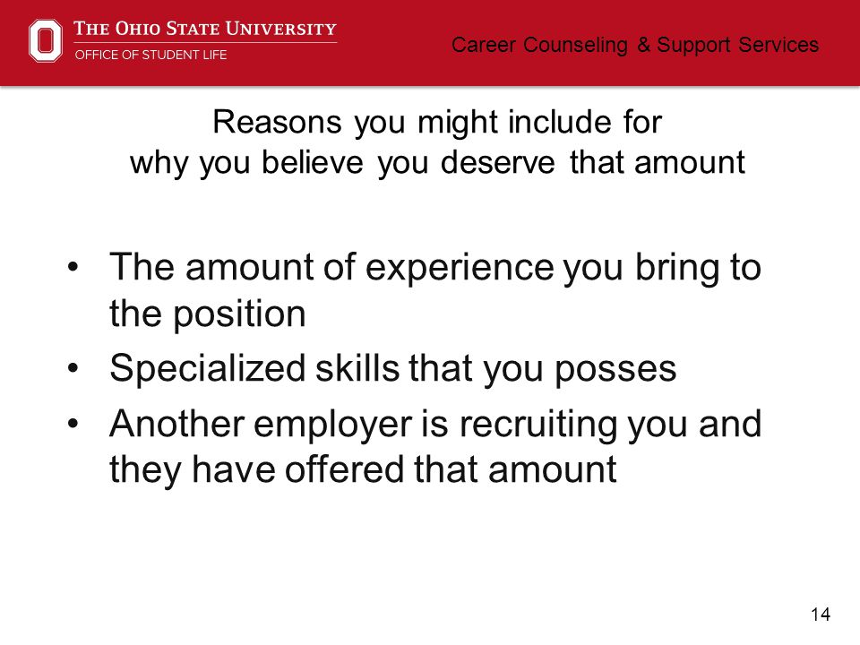 15 Career Counseling & Support Services How can I handle questions about salary.