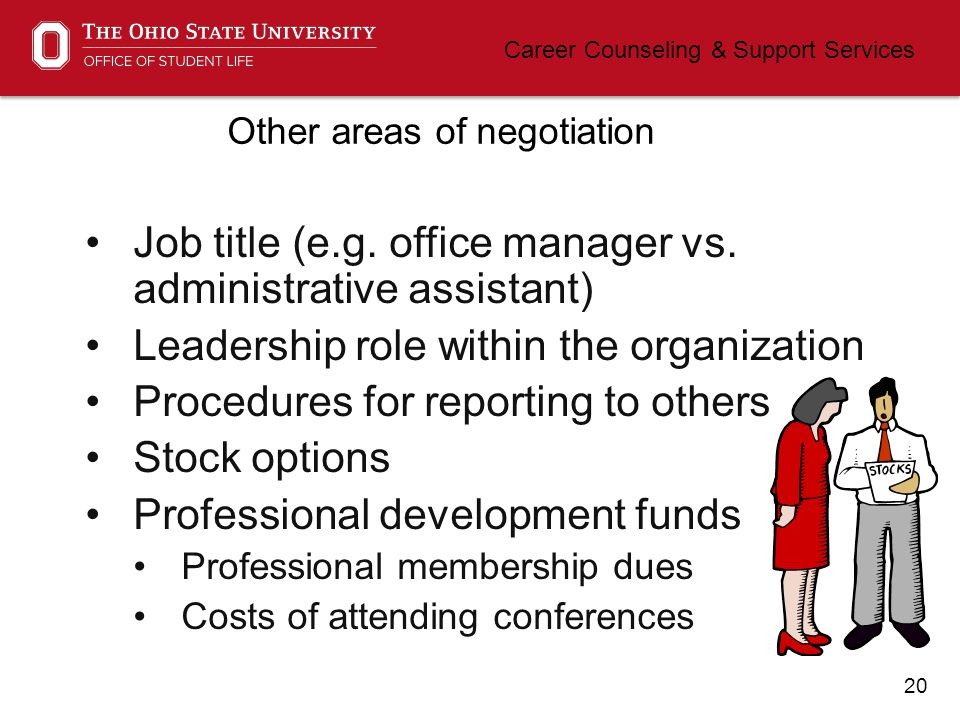 20 Career Counseling & Support Services Other areas of negotiation Job title (e.g.