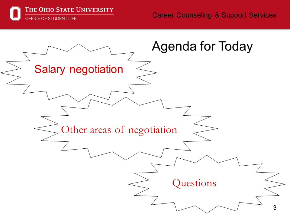 3 Career Counseling & Support Services Agenda for Today Salary negotiation Other areas of negotiation Questions