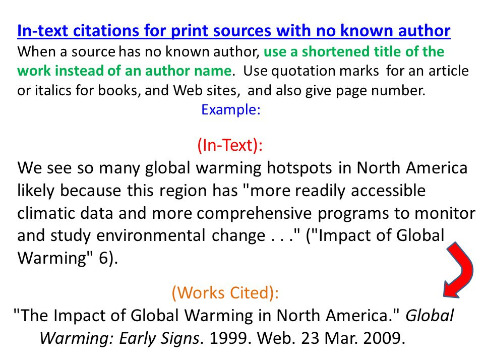 In-text citations for print sources with no known author When a source has no known author, use a shortened title of the work instead of an author name.