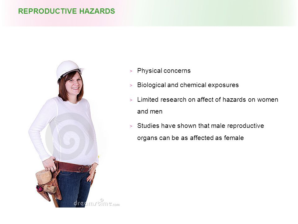  Physical concerns  Biological and chemical exposures  Limited research on affect of hazards on women and men  Studies have shown that male reproductive organs can be as affected as female REPRODUCTIVE HAZARDS