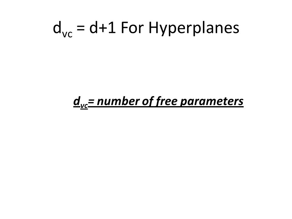 d vc = d+1 For Hyperplanes d vc = number of free parameters