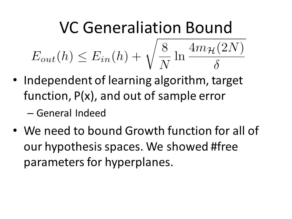 VC Generaliation Bound Independent of learning algorithm, target function, P(x), and out of sample error – General Indeed We need to bound Growth function for all of our hypothesis spaces.