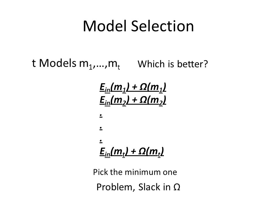 Model Selection t Models m 1,…,m t Which is better.