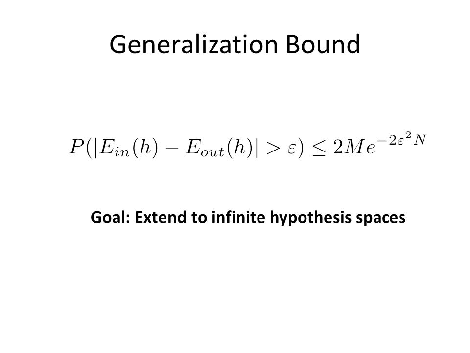 Generalization Bound Goal: Extend to infinite hypothesis spaces