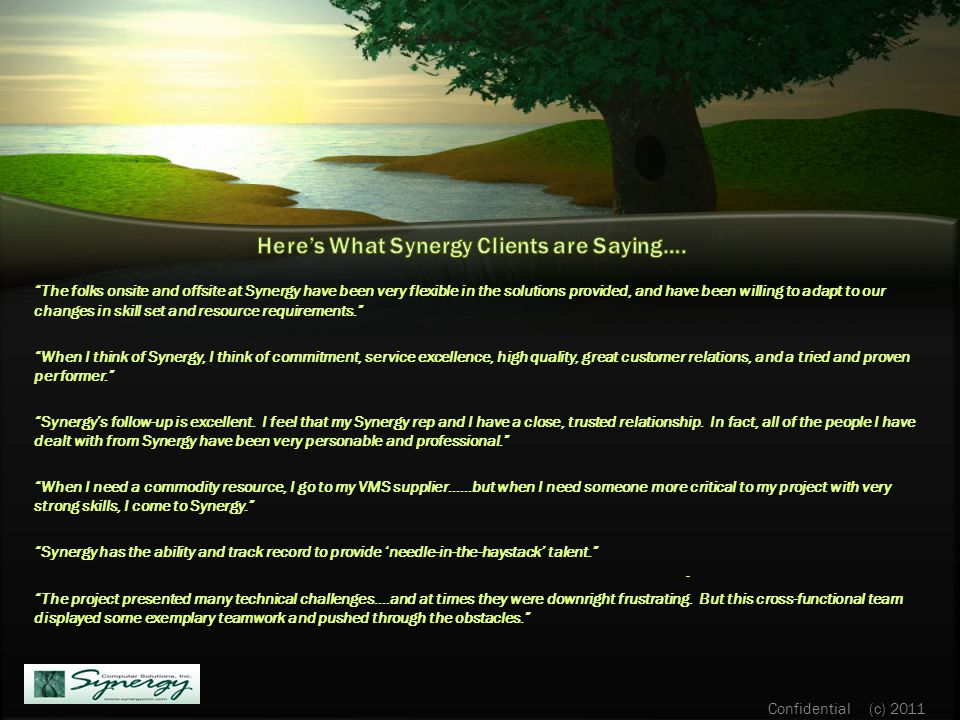 The folks onsite and offsite at Synergy have been very flexible in the solutions provided, and have been willing to adapt to our changes in skill set and resource requirements. When I think of Synergy, I think of commitment, service excellence, high quality, great customer relations, and a tried and proven performer. Synergy's follow-up is excellent.