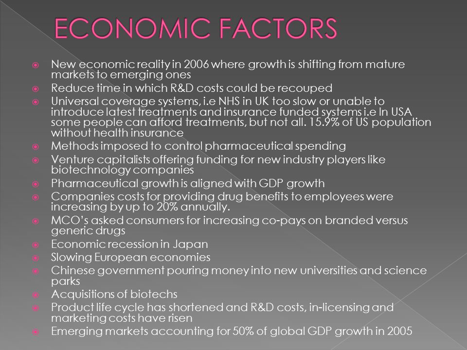  New economic reality in 2006 where growth is shifting from mature markets to emerging ones  Reduce time in which R&D costs could be recouped  Universal coverage systems, i.e NHS in UK too slow or unable to introduce latest treatments and insurance funded systems i.e In USA some people can afford treatments, but not all.