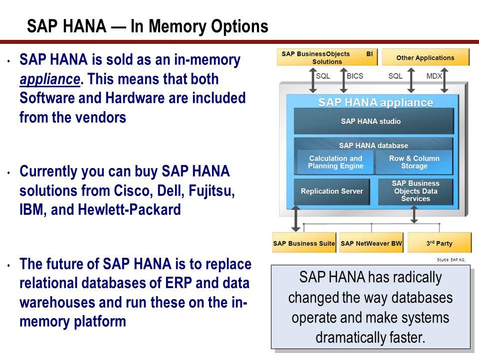 SAP HANA — In Memory Options SAP HANA is sold as an in-memory appliance.