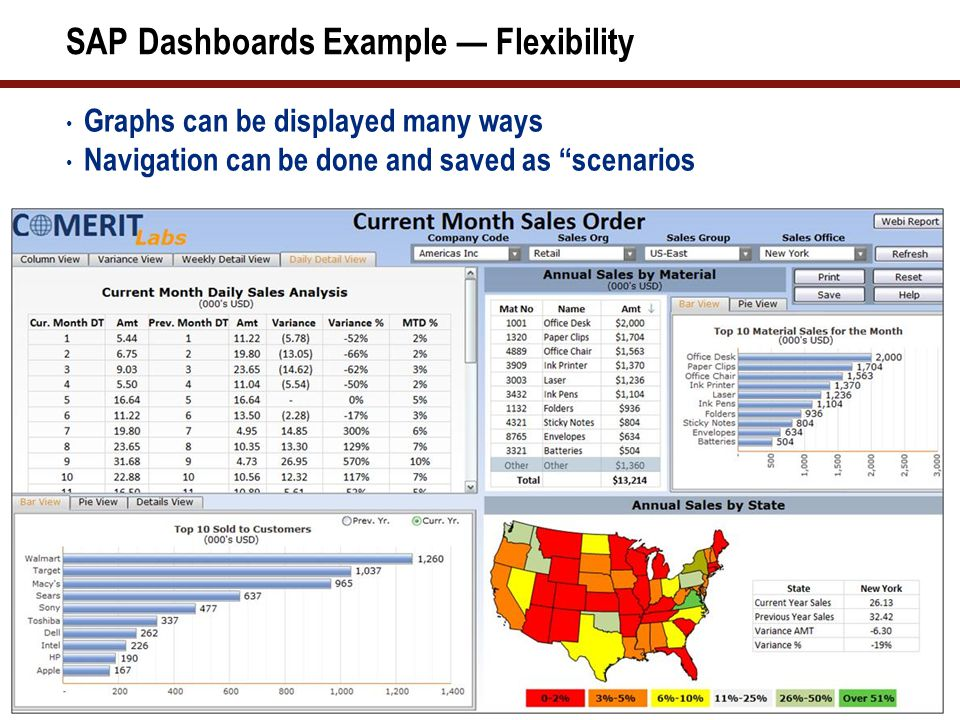 """SAP Dashboards Example — Flexibility Graphs can be displayed many ways Navigation can be done and saved as """"scenarios"""