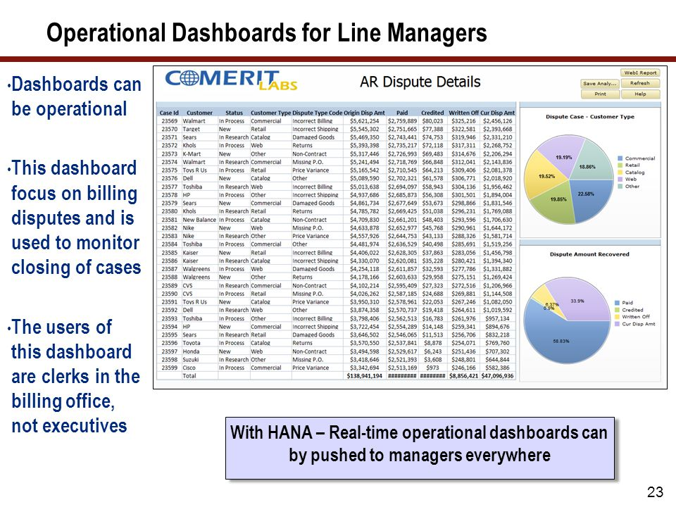 Operational Dashboards for Line Managers Dashboards can be operational This dashboard focus on billing disputes and is used to monitor closing of cases The users of this dashboard are clerks in the billing office, not executives 23 With HANA – Real-time operational dashboards can by pushed to managers everywhere