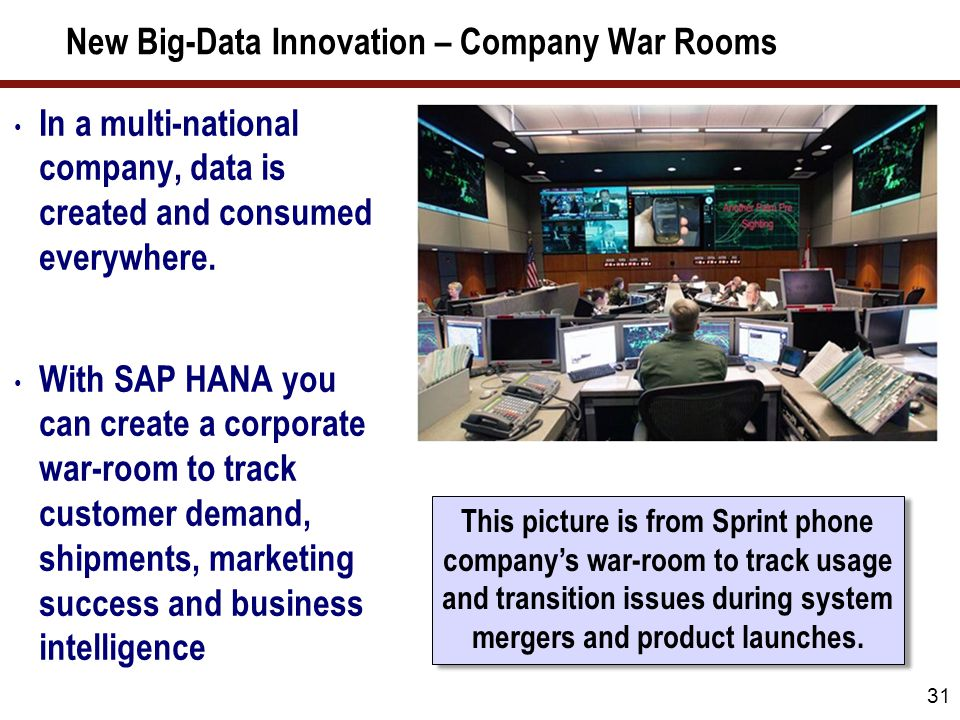 New Big-Data Innovation – Company War Rooms 31 In a multi-national company, data is created and consumed everywhere. With SAP HANA you can create a co