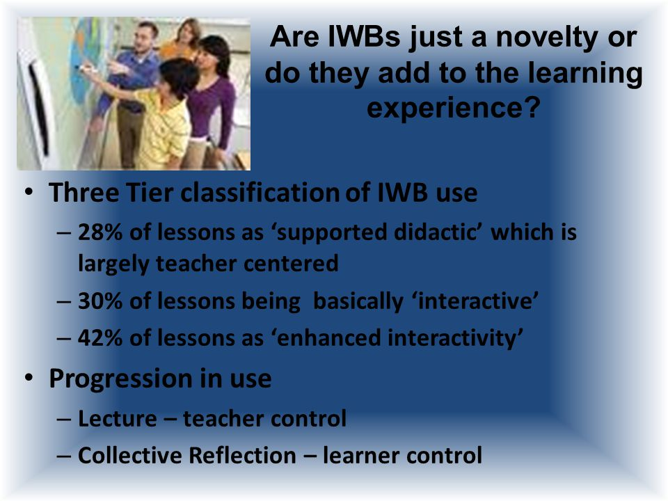 What does using an IWB add to the teaching and learning experience.
