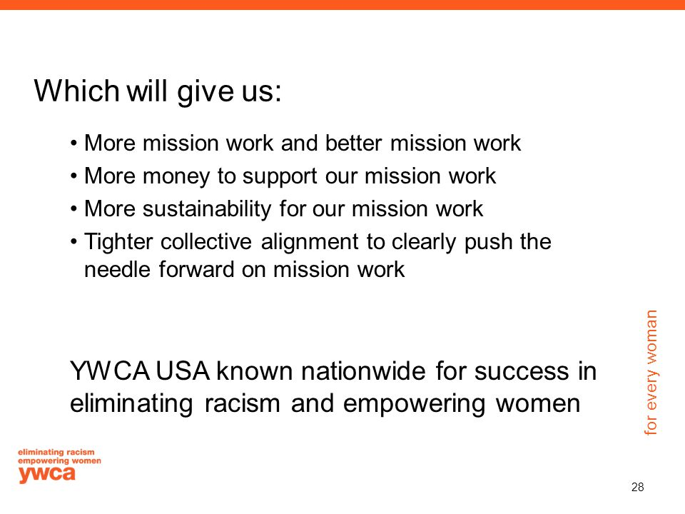 for every woman Which will give us: More mission work and better mission work More money to support our mission work More sustainability for our mission work Tighter collective alignment to clearly push the needle forward on mission work YWCA USA known nationwide for success in eliminating racism and empowering women 28