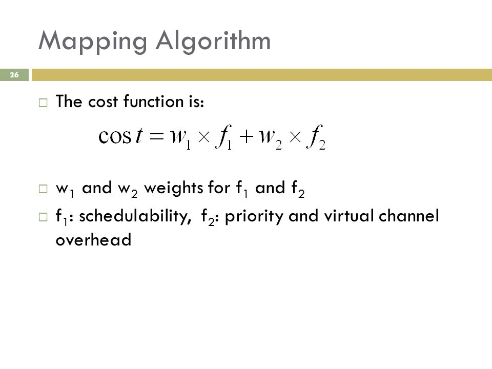 Mapping Algorithm 26  The cost function is:  w 1 and w 2 weights for f 1 and f 2  f 1 : schedulability, f 2 : priority and virtual channel overhead