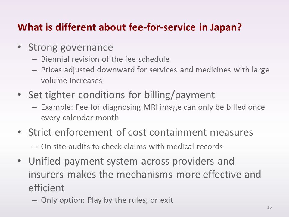 What is different about fee-for-service in Japan.