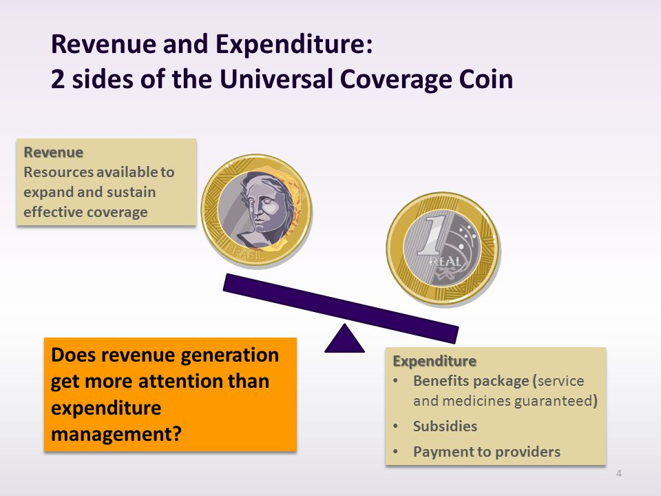 Revenue and Expenditure: 2 sides of the Universal Coverage Coin Revenue Resources available to expand and sustain effective coverageRevenue Expenditure Benefits package (service and medicines guaranteed) Subsidies Payment to providersExpenditure Benefits package (service and medicines guaranteed) Subsidies Payment to providers Does revenue generation get more attention than expenditure management.