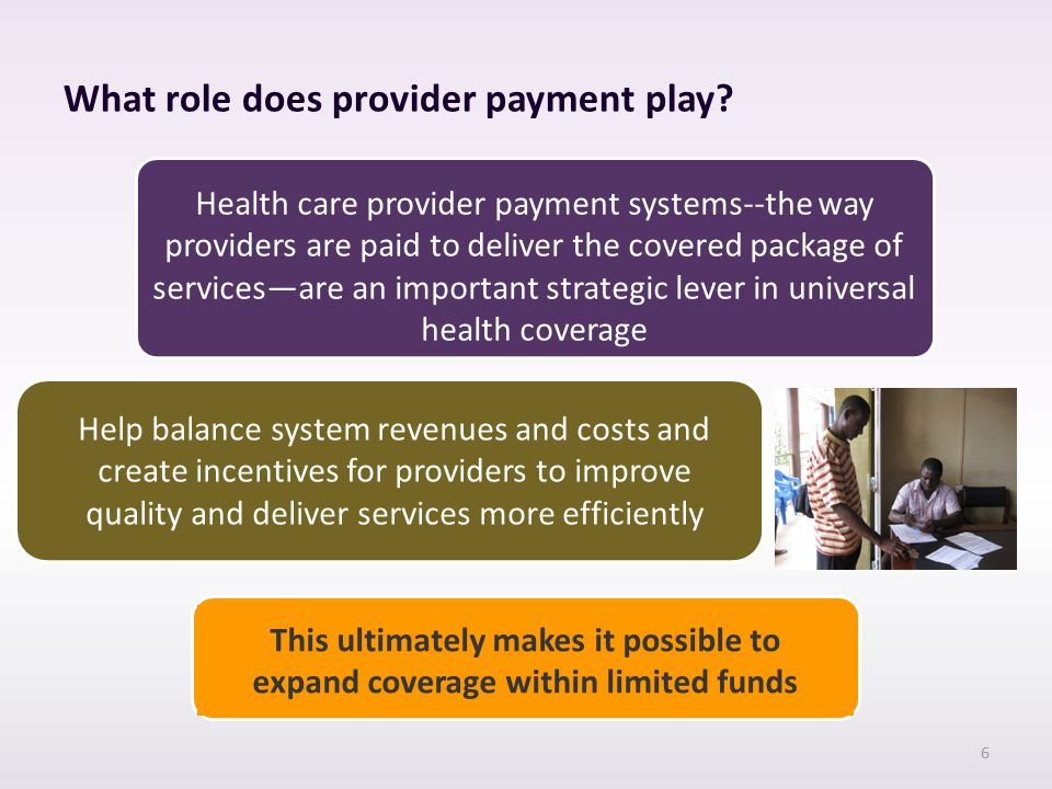 What role does provider payment play.