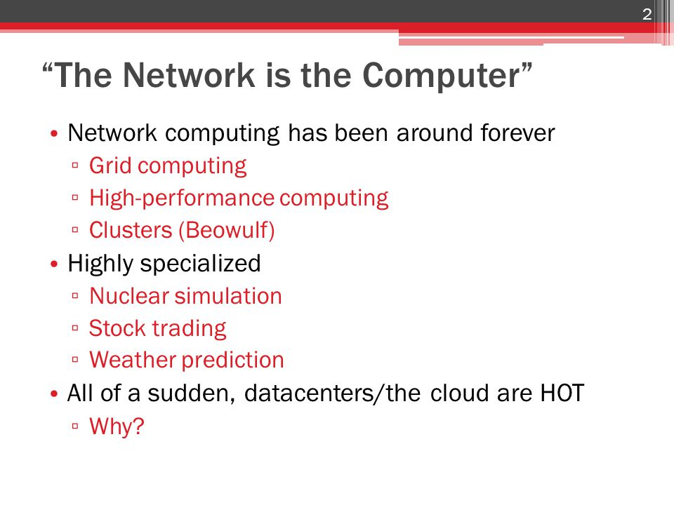 Today's Topic : Network Problems Datacenters are data intensive Most hardware can handle this ▫ CPUs scale with Moore's Law ▫ RAM is fast and cheap ▫ RAID and SSDs are pretty fast Current networks cannot handle it ▫ Slow, not keeping pace over time ▫ Expensive ▫ Wiring is a nightmare ▫ Hard to manage ▫ Non-optimal protocols 13