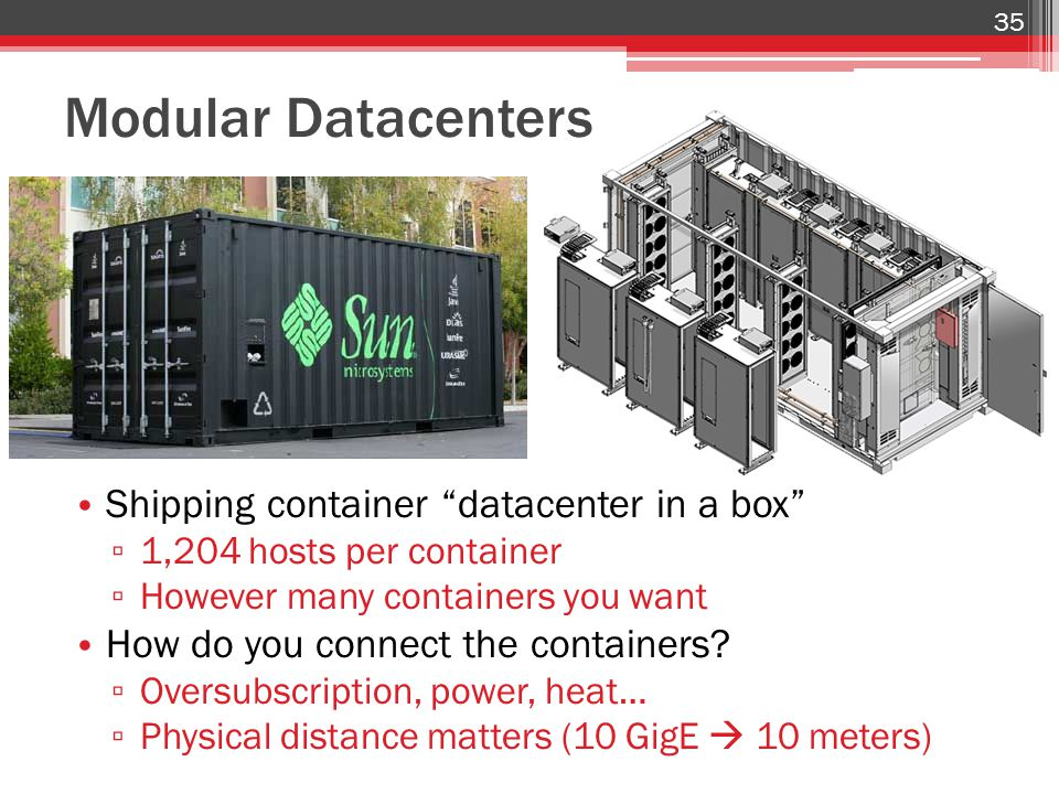 Modular Datacenters Shipping container datacenter in a box ▫ 1,204 hosts per container ▫ However many containers you want How do you connect the containers.