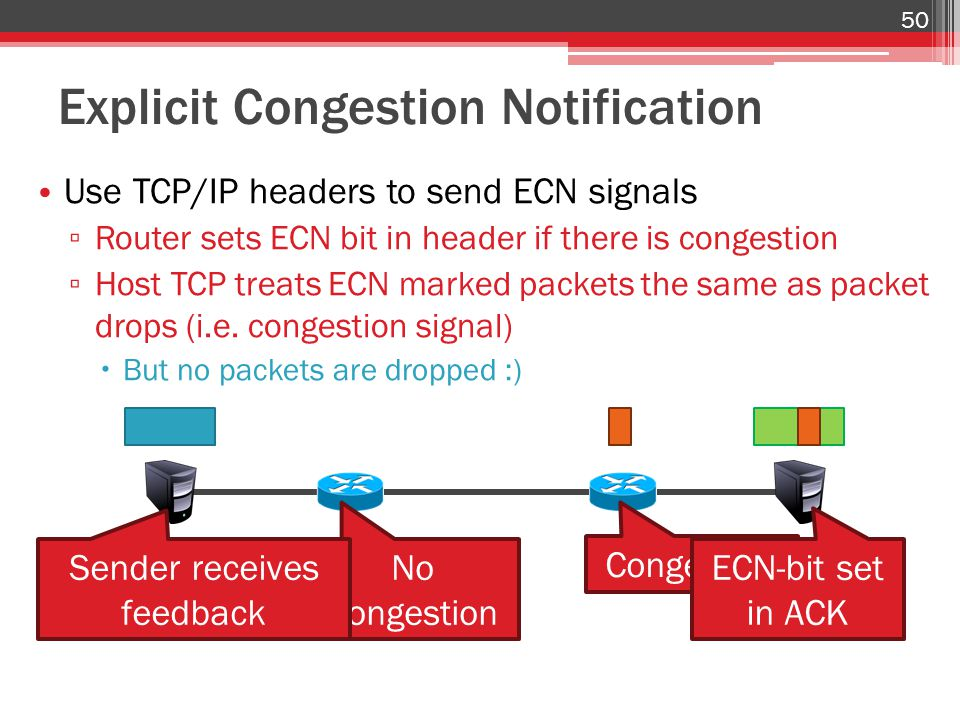 Explicit Congestion Notification 50 Use TCP/IP headers to send ECN signals ▫ Router sets ECN bit in header if there is congestion ▫ Host TCP treats ECN marked packets the same as packet drops (i.e.