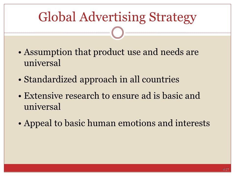 4-27 Global Advertising Strategy Assumption that product use and needs are universal Standardized approach in all countries Extensive research to ensu