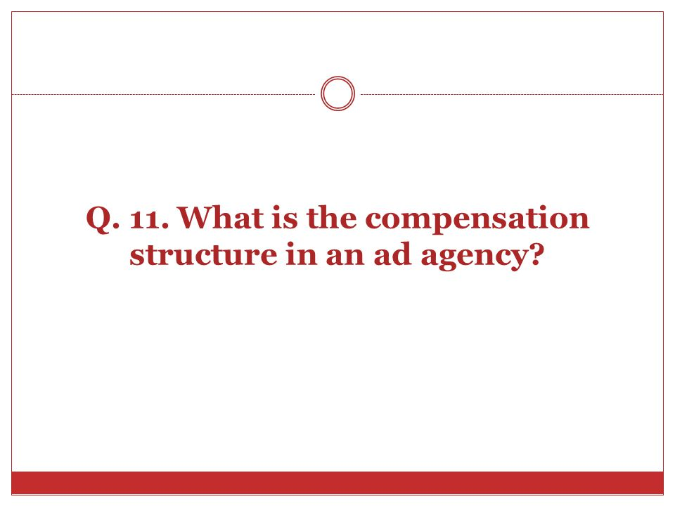 Q. 11. What is the compensation structure in an ad agency?