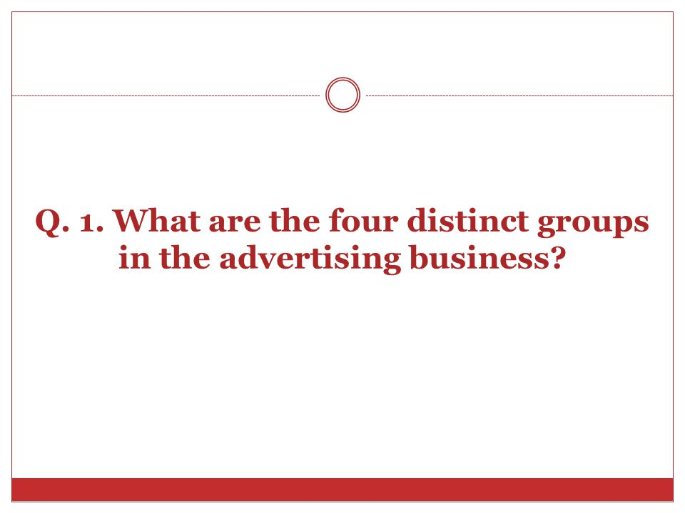 Q. 1. What are the four distinct groups in the advertising business?
