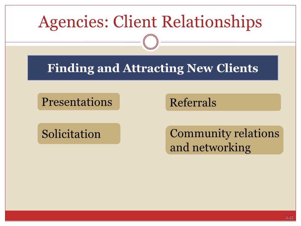 4-42 Agencies: Client Relationships Referrals Presentations Community relations and networking Solicitation Finding and Attracting New Clients