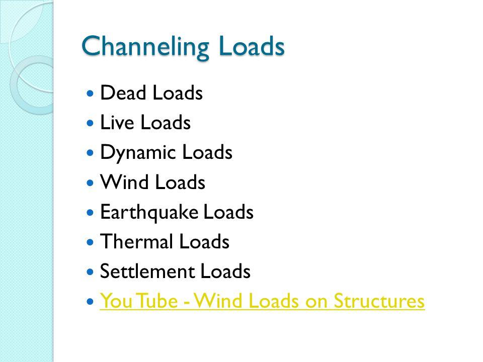 Channeling Loads Dead Loads Live Loads Dynamic Loads Wind Loads Earthquake Loads Thermal Loads Settlement Loads You Tube - Wind Loads on Structures