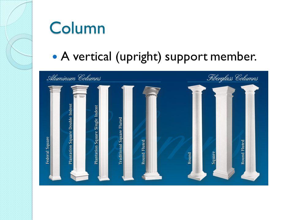 Column A vertical (upright) support member.