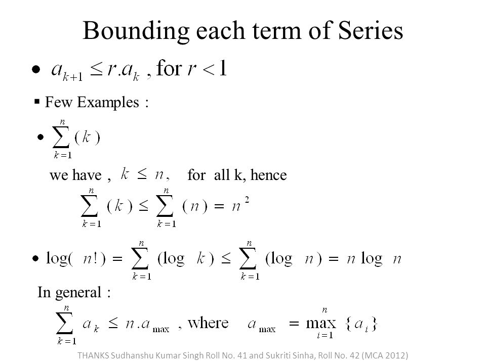 Bounding each term of Series  Few Examples : we have,for all k, hence In general : THANKS Sudhanshu Kumar Singh Roll No.