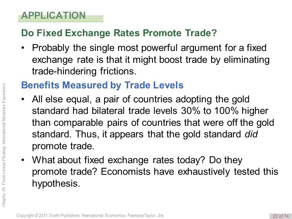 22 of 74 Copyright © 2011 Worth Publishers· International Economics· Feenstra/Taylor, 2/e. Chapter 19: Fixed versus Floating: International Monetary E