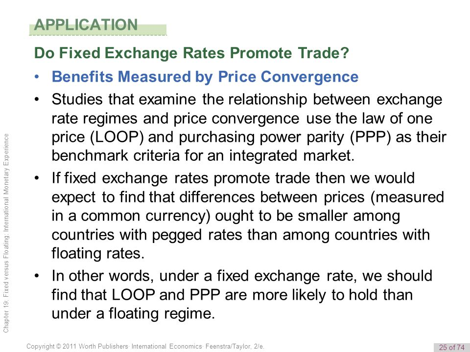 25 of 74 Copyright © 2011 Worth Publishers· International Economics· Feenstra/Taylor, 2/e. Chapter 19: Fixed versus Floating: International Monetary E