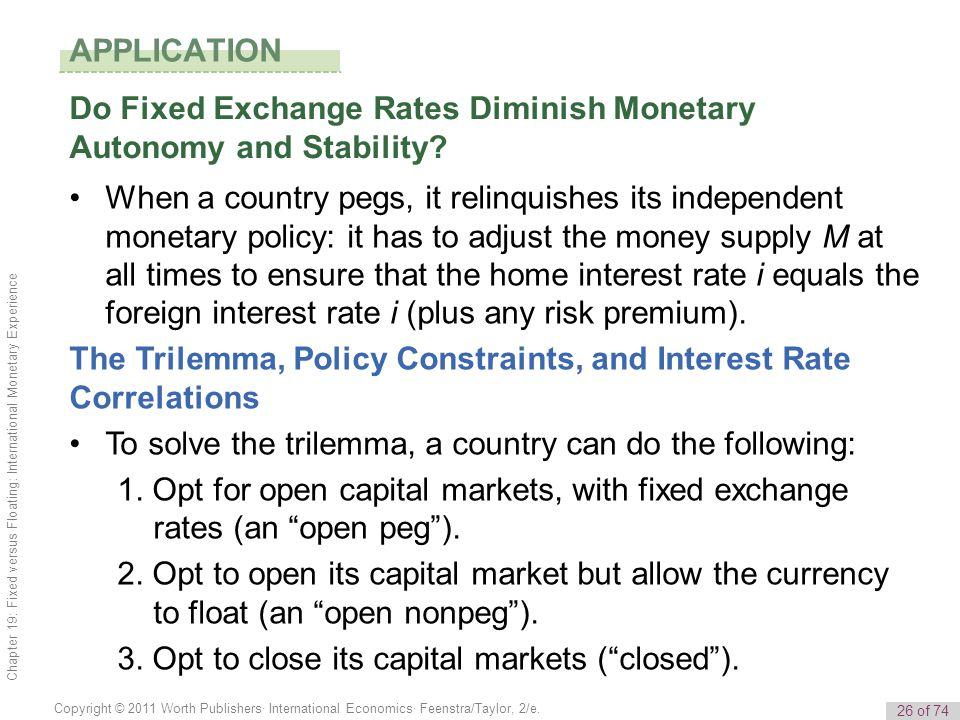 26 of 74 Copyright © 2011 Worth Publishers· International Economics· Feenstra/Taylor, 2/e. Chapter 19: Fixed versus Floating: International Monetary E