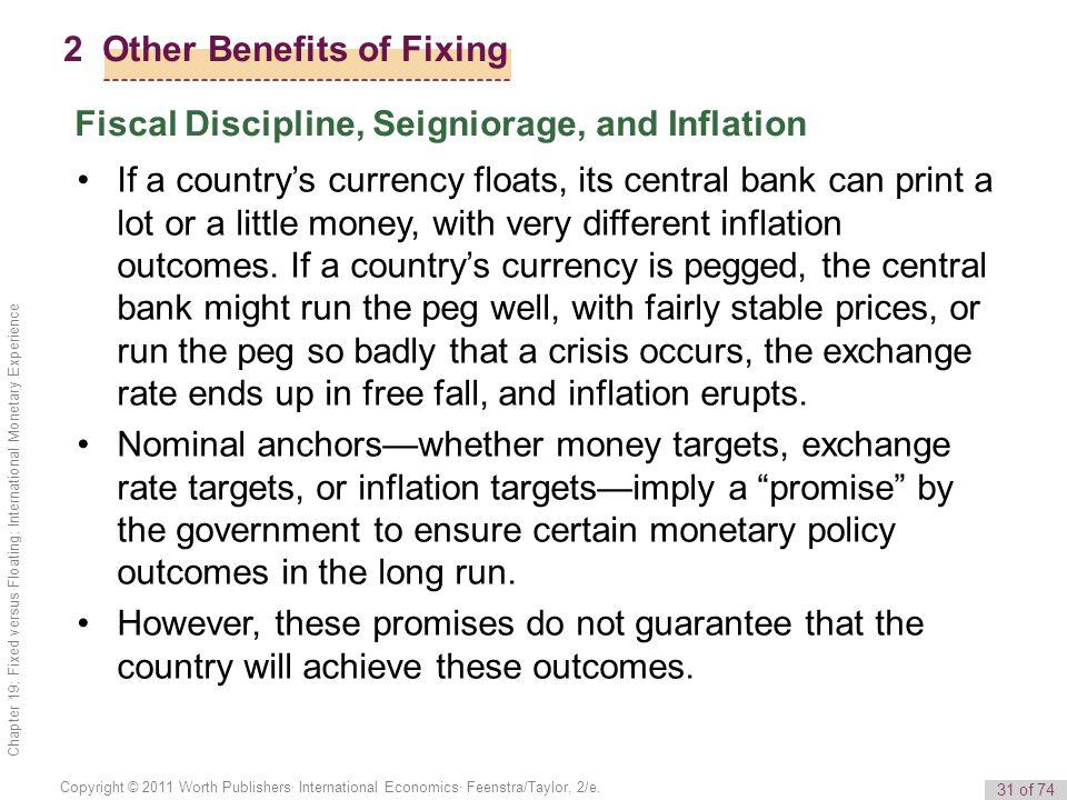 31 of 74 Copyright © 2011 Worth Publishers· International Economics· Feenstra/Taylor, 2/e. Chapter 19: Fixed versus Floating: International Monetary E