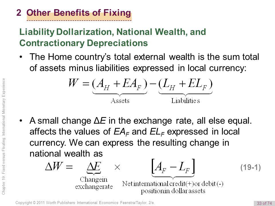 33 of 74 Copyright © 2011 Worth Publishers· International Economics· Feenstra/Taylor, 2/e. Chapter 19: Fixed versus Floating: International Monetary E
