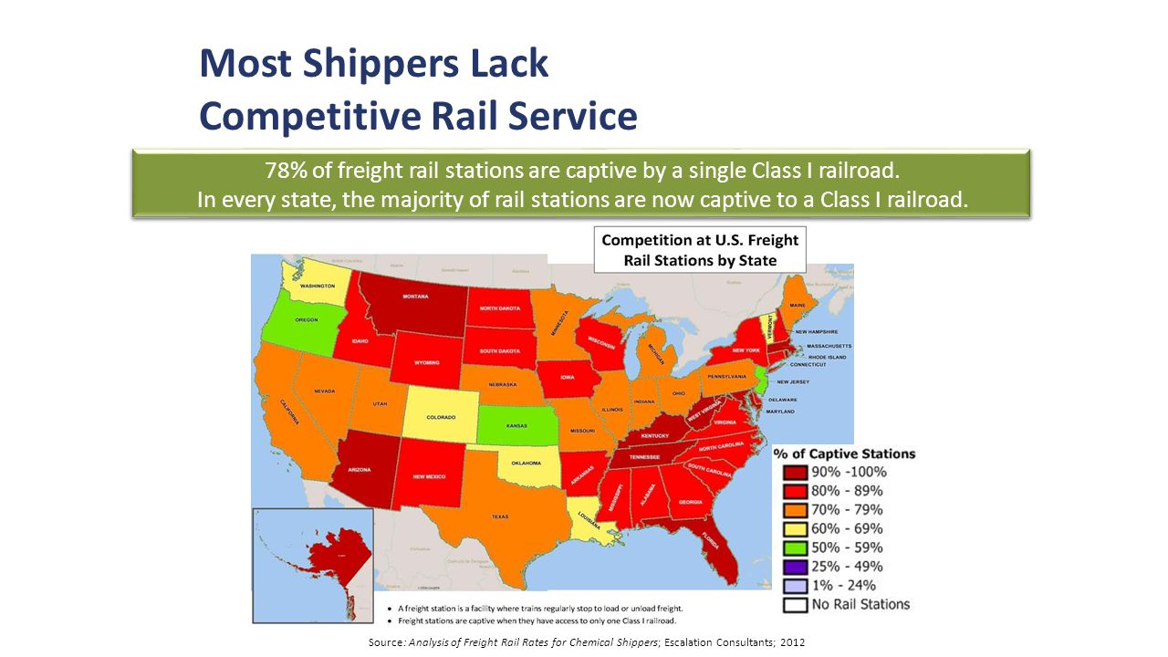 78% of freight rail stations are captive by a single Class I railroad.