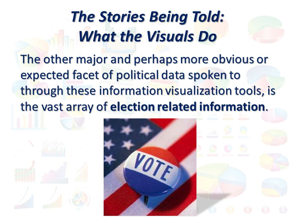 The other major and perhaps more obvious or expected facet of political data spoken to through these information visualization tools, is the vast arra