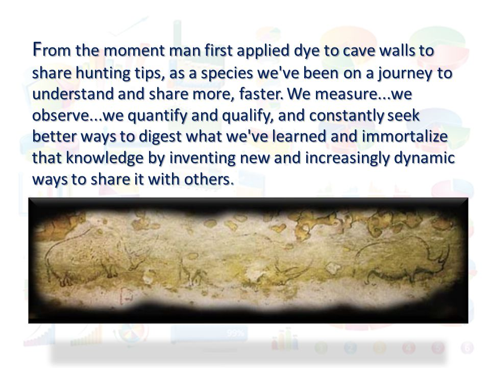 F rom the moment man first applied dye to cave walls to share hunting tips, as a species we've been on a journey to understand and share more, faster.