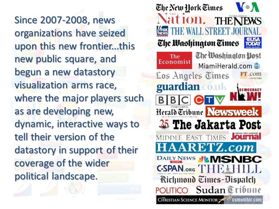 Since 2007-2008, news organizations have seized upon this new frontier...this new public square, and begun a new datastory visualization arms race, wh