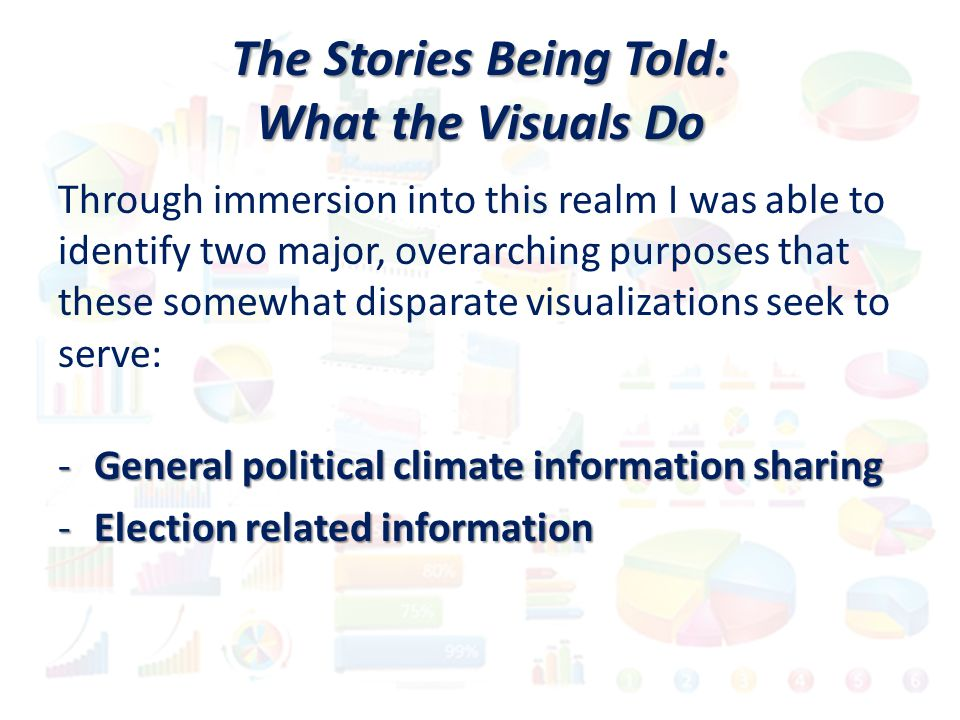 The Stories Being Told: What the Visuals Do Through immersion into this realm I was able to identify two major, overarching purposes that these somewhat disparate visualizations seek to serve: -General political climate information sharing -Election related information