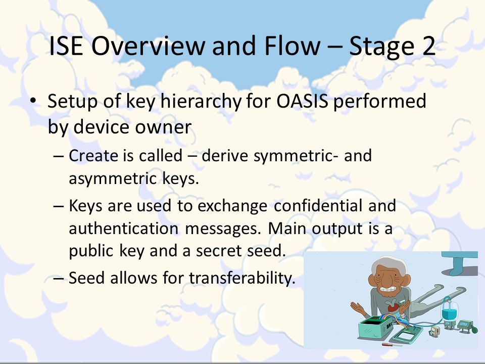 ISE Overview and Flow – Stage 2 Setup of key hierarchy for OASIS performed by device owner – Create is called – derive symmetric- and asymmetric keys.