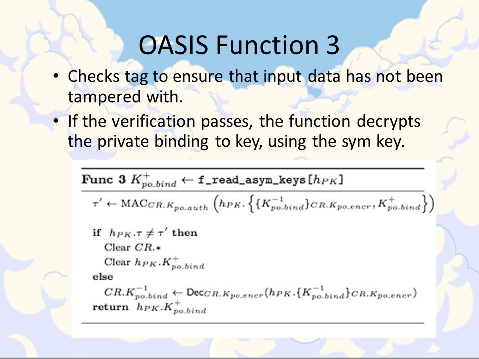 OASIS Function 3 Checks tag to ensure that input data has not been tampered with.