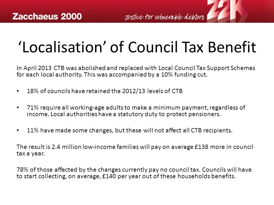 'Localisation' of Council Tax Benefit In April 2013 CTB was abolished and replaced with Local Council Tax Support Schemes for each local authority.