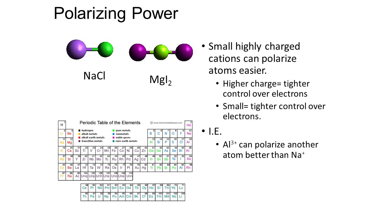Polarizing Power Small highly charged cations can polarize atoms easier.